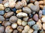 Many Color Stones, Many Sizes, Used To Decorate The Garden. poster