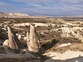 A Mushroom Rocks, Also Called Rock Pedestals, Or Fairy Chimneys At The Valley Near Urgup, Cappadocia poster