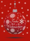 Christmas Bauble Vector With Snowflakes, Silver Hanger And German Christmas Greetings On Red Backgro poster
