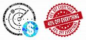 Mosaic Dollar Radar And Corroded Stamp Seal With 40 Percent Off Everything Text. Mosaic Vector Is Co poster