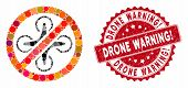 Mosaic Forbidden Copter And Rubber Stamp Seal With Drone Warning Exclamation Phrase. Mosaic Vector I poster