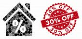 Mosaic Mortgage Discount And Grunge Stamp Seal With 30 Percent Off Phrase. Mosaic Vector Is Created  poster