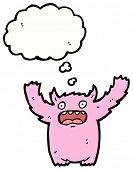 cartoon furry pink monster poster