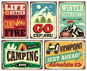 Hiking And Camping Retro Signs Collection. Outdoor Activities Vintage Posters Set. Wilderness And Ad poster
