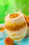 Rice Pudding with Peach Compote
