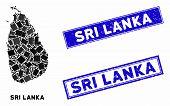 Mosaic Sri Lanka Island Map And Rectangle Seal Stamps. Flat Vector Sri Lanka Island Map Mosaic Of Ra poster