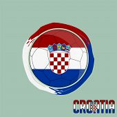 Flag Of Croatia, Football Championship Banner, Vector Illustration Of Abstract Soccer Ball With Croa poster