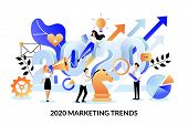Digital Marketing Trends, Strategy And Business Plan For 2020 New Year. Vector Flat Cartoon Illustra poster