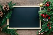 Holiday Christmas Wood Wallpaper With Blackboard. Christmas Card Background With Chalkboard And Fest poster