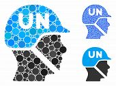 United Nations Soldier Helmet Composition Of Spheric Dots In Variable Sizes And Color Tints, Based O poster