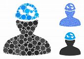 Soldier Under Spotted Helmet Composition Of Filled Circles In Different Sizes And Color Tinges, Base poster