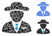Agent Composition Of Round Dots In Different Sizes And Color Hues, Based On Agent Icon. Vector Round poster