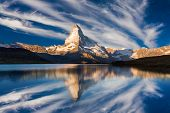 Matterhorn Peak Reflected In Stellisee Lake In Zermatt, Switzerland. poster
