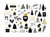 Set Of Christmas New Year Winter Black Icons With Gold Texture Xmas Tree, Gifts, Balls, Snowflake, L poster