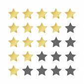 Five Gold Stars Rating. 5 Star Image Realistic Leadership Symbol. Glossy Yellow Winner Champion Rati poster