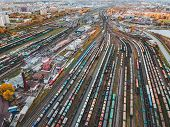 Cargo Trains. Aerial View Of Colorful Freight Trains On The Railway Station. Wagons With Goods On Ra poster