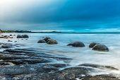 Moeraki Boulders on the Koekohe beach, Eastern coast of New Zealand. HDR image poster