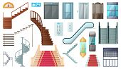 Staircase And Lift Vector Cartoon Set Icon.vector Illustration Stair And Escalator.isolated Cartoon  poster