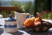 Breakfast Table On Sunny Terrace On French Riviera. poster