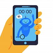 Phone With Chat Bot In A Hand That Is Ready To Help Flat Vector Illustration.round-the-clock Assista poster
