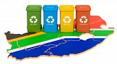 Waste Recycling In South Africa. Colored Trash Cans On The Map Of South Africa, 3d Rendering Isolate poster