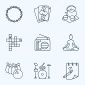 Hobby Icons Line Style Set With Radio, Playing Cards, Yoga And Other Meditation Elements. Isolated V poster