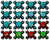 """stock photo of png  - """"Funny skulls"""" are pictures of an emotional nature, sixteen pictures and sixteen different emotions.  All of the pictures are in PNG format, without background, made in one layer. - JPG"""