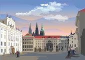 Colorful Vector Illustration Of Hradcany Square. The Central Gate Of The Hradcany Castle. Landmark O poster