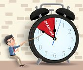 Business Deadline Vector Character Concept. Man Business Character Pulling Alarm Clock Arrow Before  poster