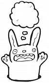 foto of rabbit hole  - cute funny cartoon rabbit in hole - JPG