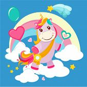 Unicorn Background. Fairy Tale Cute Little Horse Standing On Fantasy Rainbow Magical Birthday Vector poster