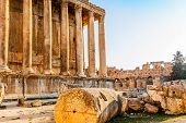 Columns Of Ancient Roman Temple Of Bacchus With Surrounding Ruins Of Ancient City, Bekaa Valley, Baa poster