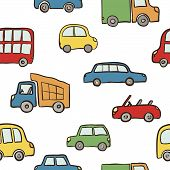 Seamless Pattern Of Hand Drawn Cute Cartoon Cars For Kids Design. Vector Illustration Wrapping, Pack poster