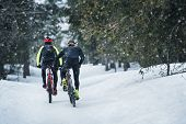 Rear View Of Mountain Bikers Riding On Road In Forest Outdoors In Winter. poster