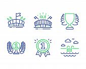 Laureate Award, Arena And Reward Line Icons Set. Winner, Sports Arena And Swimming Pool Signs. Prize poster