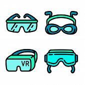 Goggles Icons Set. Outline Set Of Goggles Vector Icons For Web Design Isolated On White Background poster