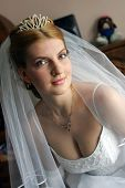 Portrait of auburn haired bride in tiara on wedding day. poster