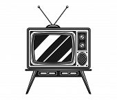 Old Tv With Antenna On Desk Vector Black And White Illustration Isolated On White Background poster