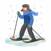 Skier On Ski Vector Icon.cartoon Vector Icon Isolated On White Background Skier On Ski. poster
