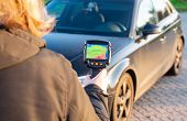 Thermal Imager With Thermal Image Is Aimed At A Car After The Car Ride poster
