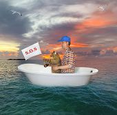 The Man In A Red Cap With His Cat Are Drifting In A Bathtub On The Open Sea After A Shipwreck. The C poster