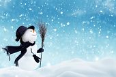 Happy  snowman standing in christmas landscape.Snow background.Winter fairytale.Merry christmas and  poster