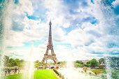 Eiffel Tower With Trocadero Fountains, Paris, France, Toned poster