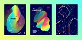 Neon Music Flyer. Gradient Layout. Electronic Trance Festival. Multicolor 3d Flow Background. Trendy poster