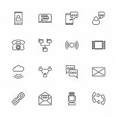 Corporate Communication Outline Icons Set - Black Symbol On White Background. Corporate Communicatio poster
