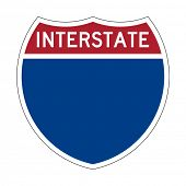 Blank or empty American Interstate Highway sign or shield; isolated on white background.