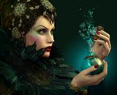image of fairyland  - Portrait of a young lady with bottle in her hand - JPG