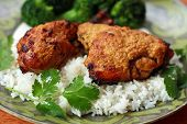 stock photo of garam masala  - Tandoori Chicken with white Basmati rice garnished with cilantro - JPG