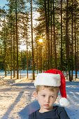 Handsome little boy with blue eyes is sad. The snow-covered coniferous forest. Lapland. The concept  poster