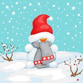 Vector Snowman With Hat On Eyes. Snowman Greeting. Cute Christmas Greeting Card With Snowman. Greeti poster